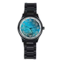 Flower Back Leaf River Blue Star Stainless Steel Round Watch