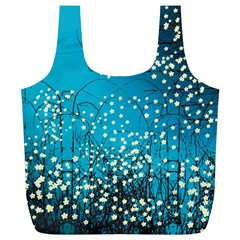 Flower Back Leaf River Blue Star Full Print Recycle Bags (l)