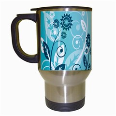 Flower Blue River Star Sunflower Travel Mugs (white)