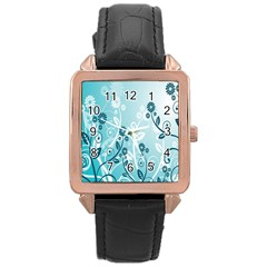 Flower Blue River Star Sunflower Rose Gold Leather Watch