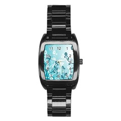 Flower Blue River Star Sunflower Stainless Steel Barrel Watch