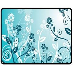 Flower Blue River Star Sunflower Double Sided Fleece Blanket (medium)