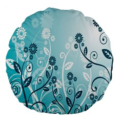 Flower Blue River Star Sunflower Large 18  Premium Flano Round Cushions