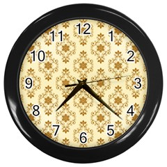 Flower Brown Star Rose Wall Clocks (black)