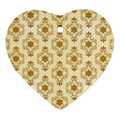 Flower Brown Star Rose Heart Ornament (two Sides)