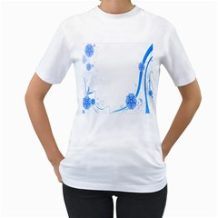 Flower Blue Sunflower Star Sexy Women s T Shirt (white) (two Sided)
