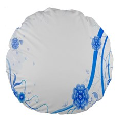 Flower Blue Sunflower Star Sexy Large 18  Premium Flano Round Cushions