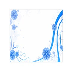 Flower Blue Sunflower Star Sexy Small Satin Scarf (square)