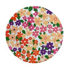 Flower Floral Rainbow Rose Ornament (round)