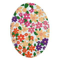 Flower Floral Rainbow Rose Ornament (oval)