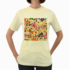 Flower Floral Rainbow Rose Women s Yellow T Shirt
