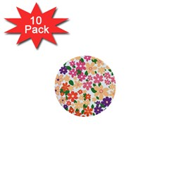 Flower Floral Rainbow Rose 1  Mini Buttons (10 Pack)