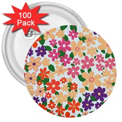 Flower Floral Rainbow Rose 3  Buttons (100 Pack)