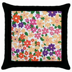 Flower Floral Rainbow Rose Throw Pillow Case (black)