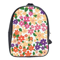Flower Floral Rainbow Rose School Bag (large)