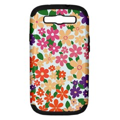 Flower Floral Rainbow Rose Samsung Galaxy S Iii Hardshell Case (pc+silicone)