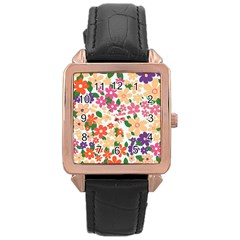 Flower Floral Rainbow Rose Rose Gold Leather Watch