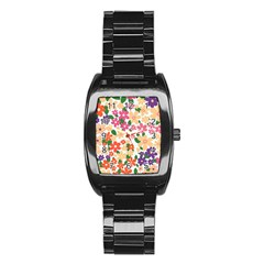 Flower Floral Rainbow Rose Stainless Steel Barrel Watch