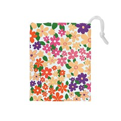 Flower Floral Rainbow Rose Drawstring Pouches (medium)
