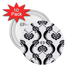 Flower Floral Black Sexy Star Black 2 25  Buttons (10 Pack)