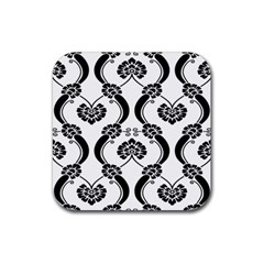 Flower Floral Black Sexy Star Black Rubber Square Coaster (4 Pack)