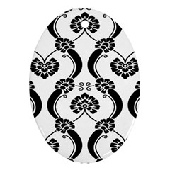 Flower Floral Black Sexy Star Black Oval Ornament (two Sides)