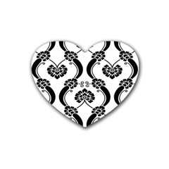 Flower Floral Black Sexy Star Black Rubber Coaster (heart)
