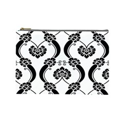 Flower Floral Black Sexy Star Black Cosmetic Bag (large)