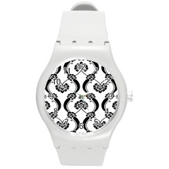 Flower Floral Black Sexy Star Black Round Plastic Sport Watch (m)