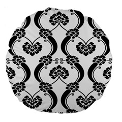 Flower Floral Black Sexy Star Black Large 18  Premium Flano Round Cushions