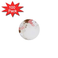 Flower Floral Rose Sunflower Star Sexy Pink 1  Mini Buttons (100 Pack)