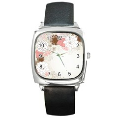 Flower Floral Rose Sunflower Star Sexy Pink Square Metal Watch