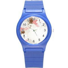 Flower Floral Rose Sunflower Star Sexy Pink Round Plastic Sport Watch (s)