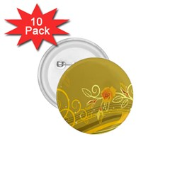 Flower Floral Yellow Sunflower Star Leaf Line Gold 1 75  Buttons (10 Pack)