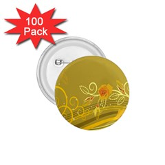 Flower Floral Yellow Sunflower Star Leaf Line Gold 1 75  Buttons (100 Pack)