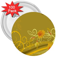 Flower Floral Yellow Sunflower Star Leaf Line Gold 3  Buttons (100 Pack)