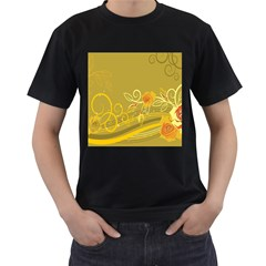 Flower Floral Yellow Sunflower Star Leaf Line Gold Men s T Shirt (black) (two Sided)