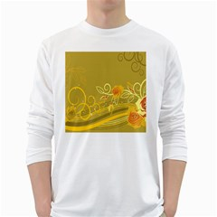 Flower Floral Yellow Sunflower Star Leaf Line Gold White Long Sleeve T Shirts