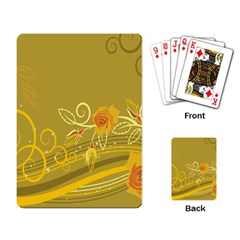 Flower Floral Yellow Sunflower Star Leaf Line Gold Playing Card