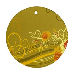 Flower Floral Yellow Sunflower Star Leaf Line Gold Round Ornament (two Sides)