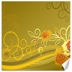 Flower Floral Yellow Sunflower Star Leaf Line Gold Canvas 12  X 12