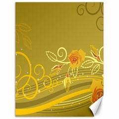 Flower Floral Yellow Sunflower Star Leaf Line Gold Canvas 12  X 16