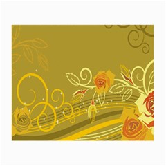 Flower Floral Yellow Sunflower Star Leaf Line Gold Small Glasses Cloth (2 Side)