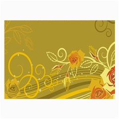 Flower Floral Yellow Sunflower Star Leaf Line Gold Large Glasses Cloth