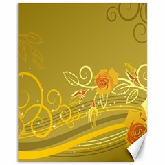 Flower Floral Yellow Sunflower Star Leaf Line Gold Canvas 11  X 14