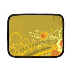 Flower Floral Yellow Sunflower Star Leaf Line Gold Netbook Case (small)