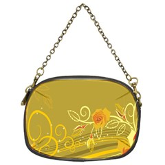 Flower Floral Yellow Sunflower Star Leaf Line Gold Chain Purses (two Sides)