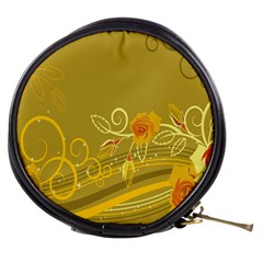 Flower Floral Yellow Sunflower Star Leaf Line Gold Mini Makeup Bags