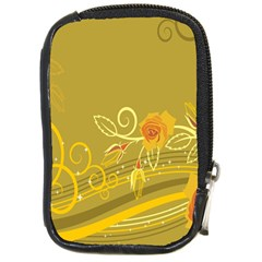 Flower Floral Yellow Sunflower Star Leaf Line Gold Compact Camera Cases