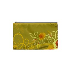 Flower Floral Yellow Sunflower Star Leaf Line Gold Cosmetic Bag (small)